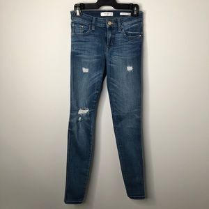 Guess Distressed Mid-Rise Medium Wash Skinny Jeans